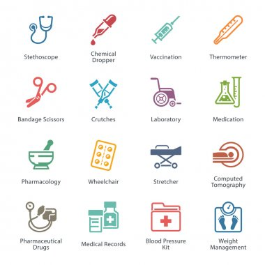 This set contains Medical & Health Care Icons that can be used for designing and developing websites, as well as printed materials and presentations. clip art vector
