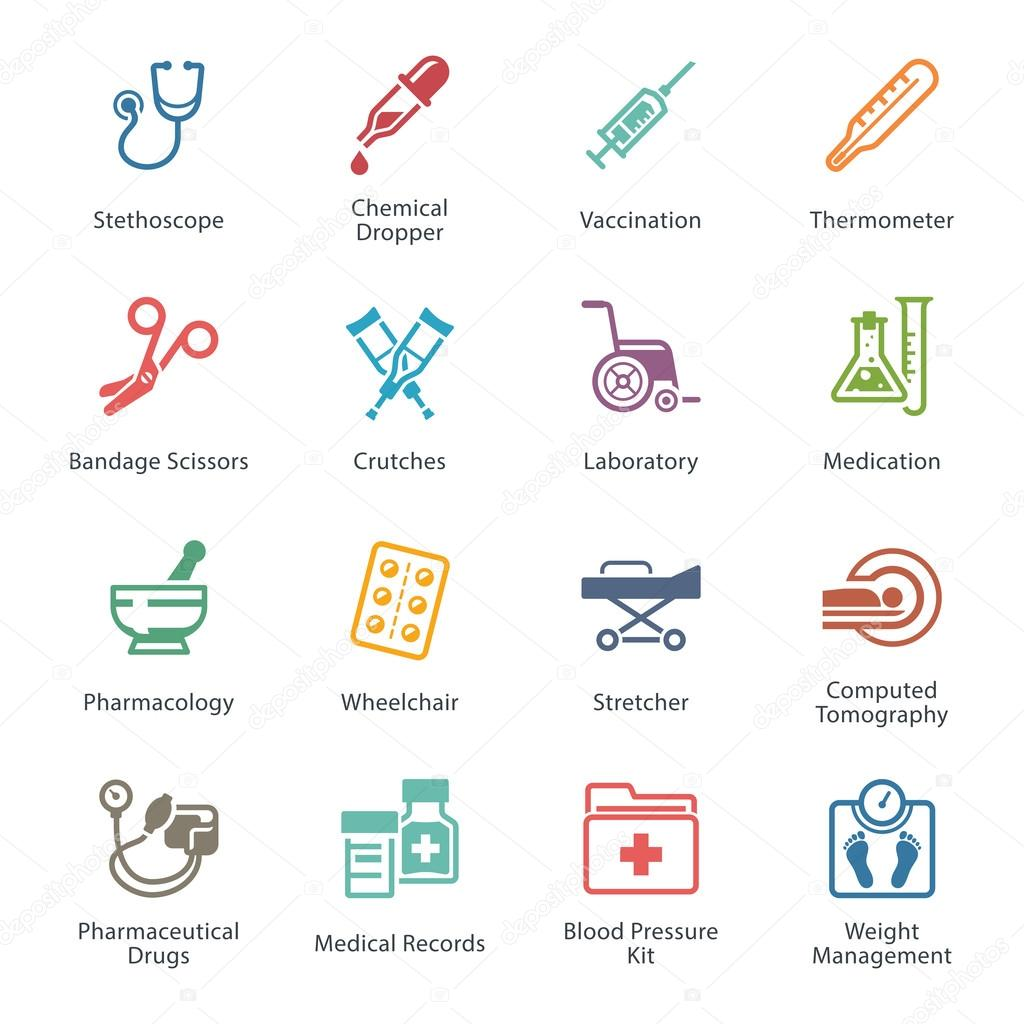 Colored Medical & Health Care Icons Set 1 - Equipment & Supplies