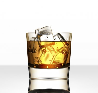 Vector glass of whiskey with ice