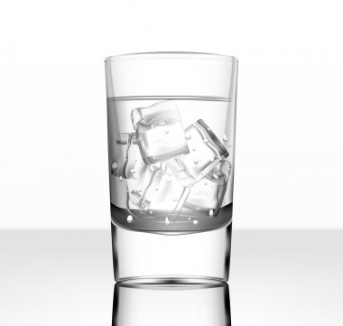 Vector glass of water with ice