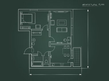 the architectural plan. a dark background. top view