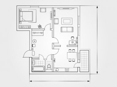 The architectural plan. the layout of the apartment with the furniture in the drawing view stock vector