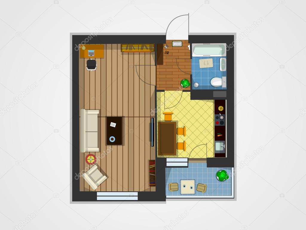 vue de dessus de plan appartement image vectorielle pioner2 002 109640356. Black Bedroom Furniture Sets. Home Design Ideas