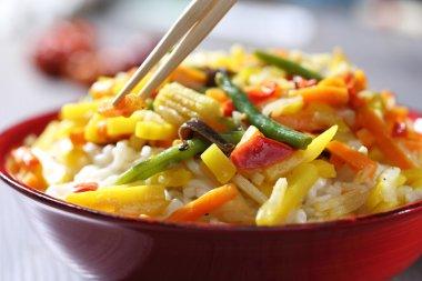 Vegetarian wok with bamboo and corn