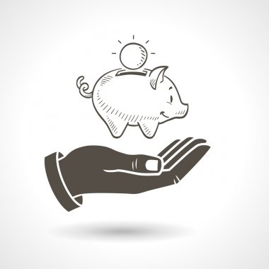 Hand Holding Piggy Bank Vector