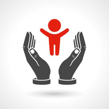 Hands holding a baby symbol, vector icon. EPS 10 file. stock vector