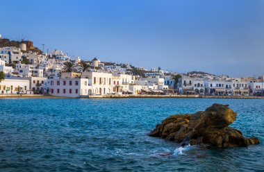 Greek island with colorful houses