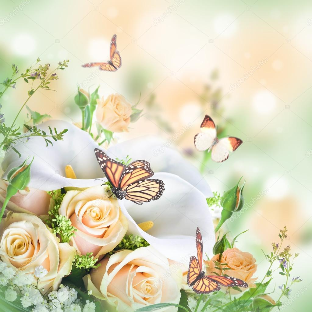 Beautiful Flowers And Butterflies Stock Photo