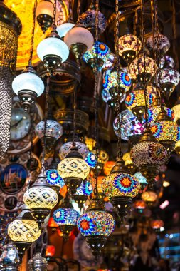 multi-colored lamps in the Oriental style