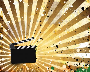 Movie clapperboard on a grunge background with scratche stock vector