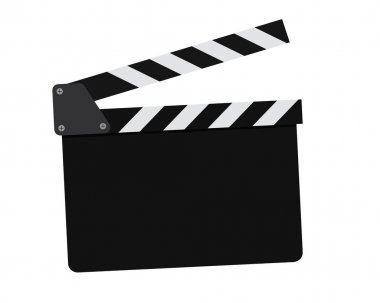 Movie clapperboard on a white