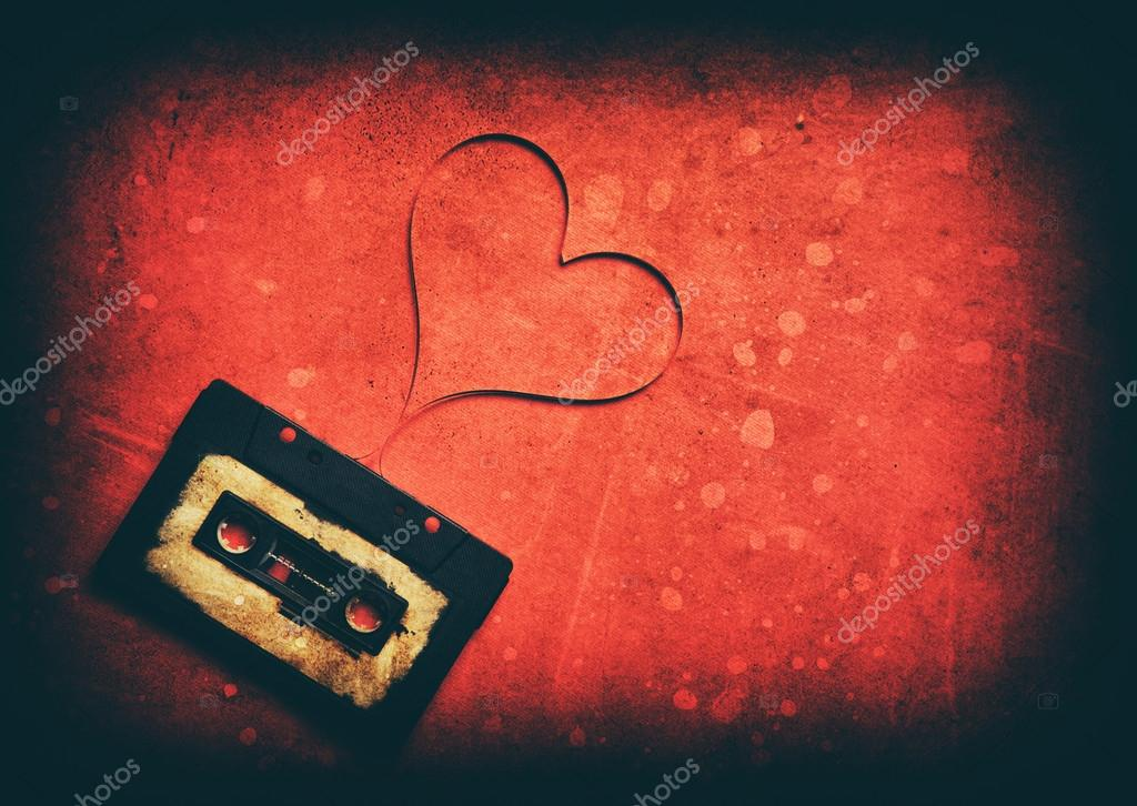 Audio cassette with magnetic tape in shape of heart stock vector