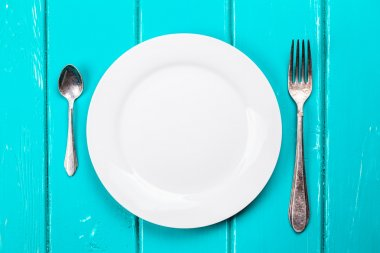 fork and spoon on  background