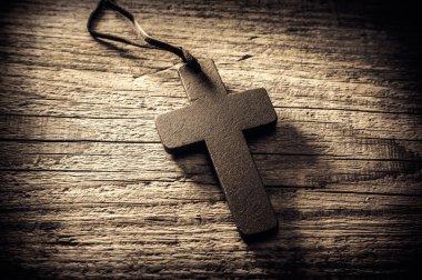 Wooden cross close up