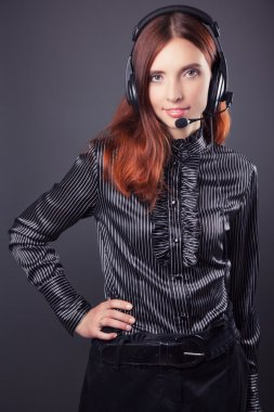 Business woman with headphones