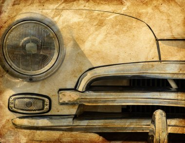 Close-up of beige retro car headlight stock vector