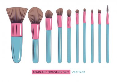 vector makeup brushes set isolated on white background