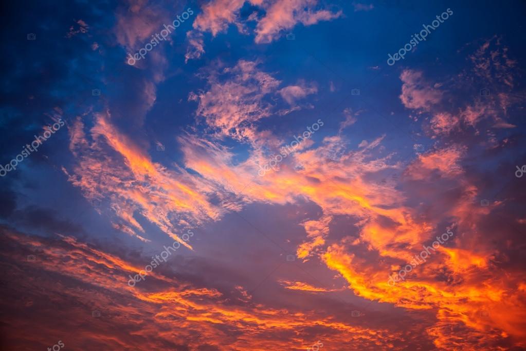 Fiery orange sunset sky