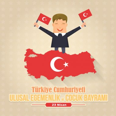 Republic of Turkey Map and Celebration Card, Greeting Message Poster, Background, Badges - English