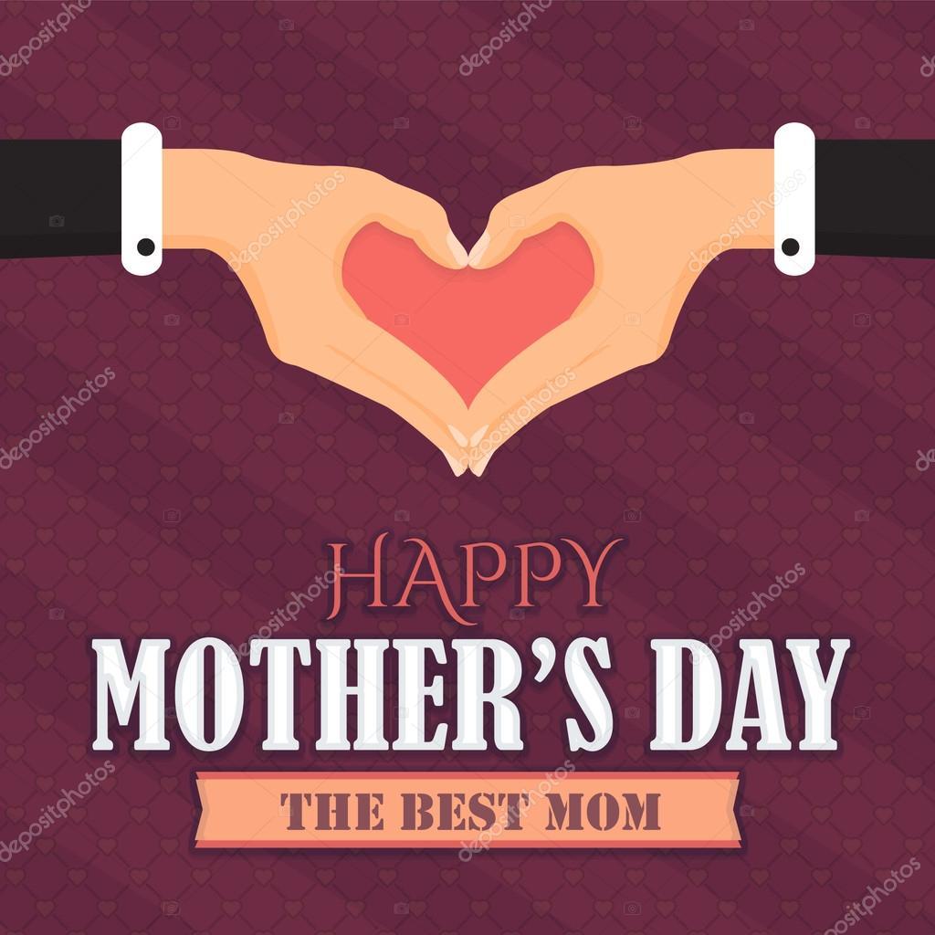 Herz-Symbol Hände und glücklich Muttertag Vektor-Design. Ankündigung ...