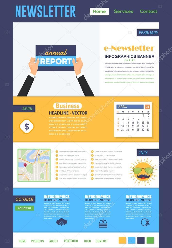vector template of e newsletter flat design stock vector