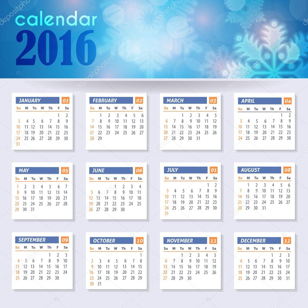 Vector 2016 Full Calendar Template Week Starts Monday