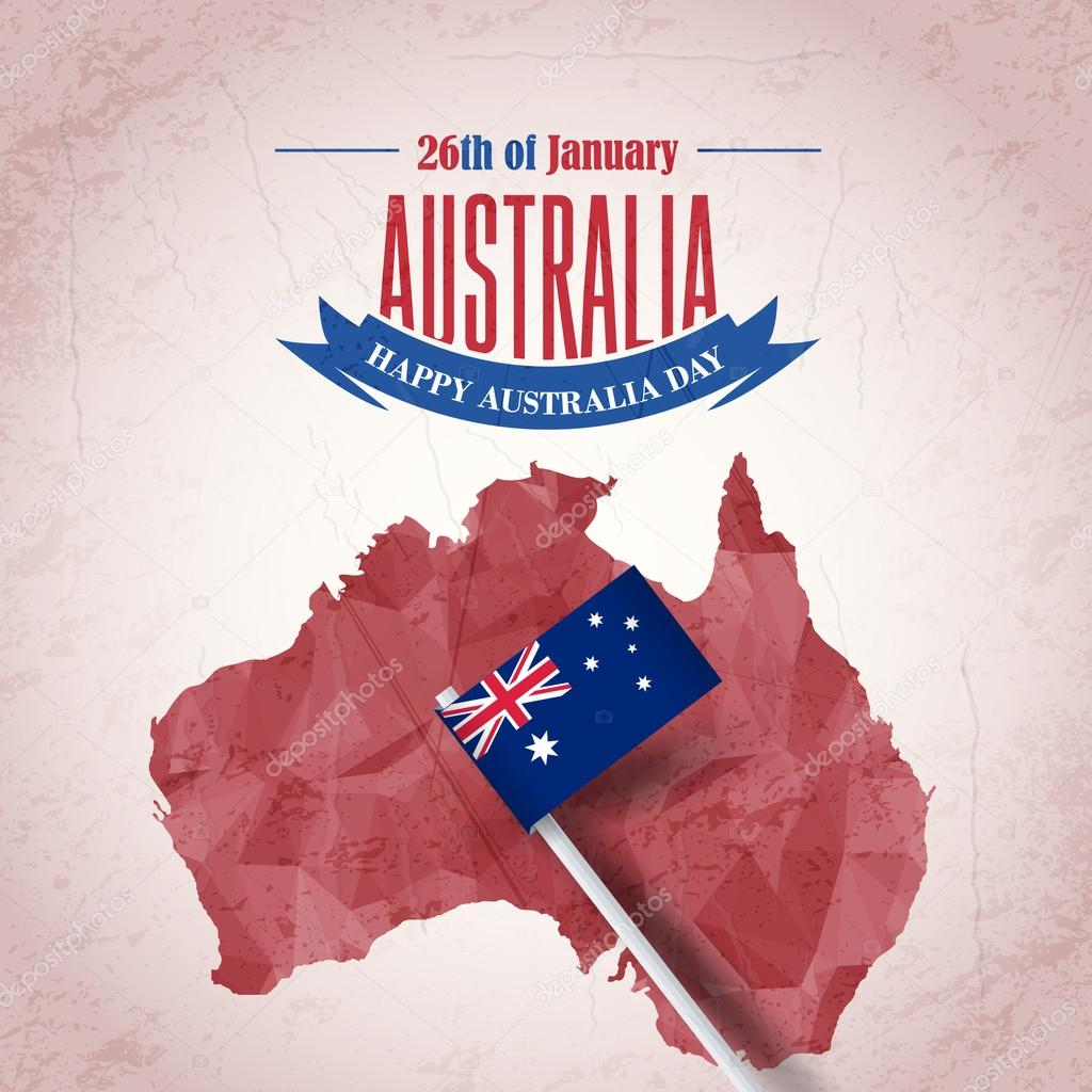 Retro Background Of Australia Day And Polygonal Map National