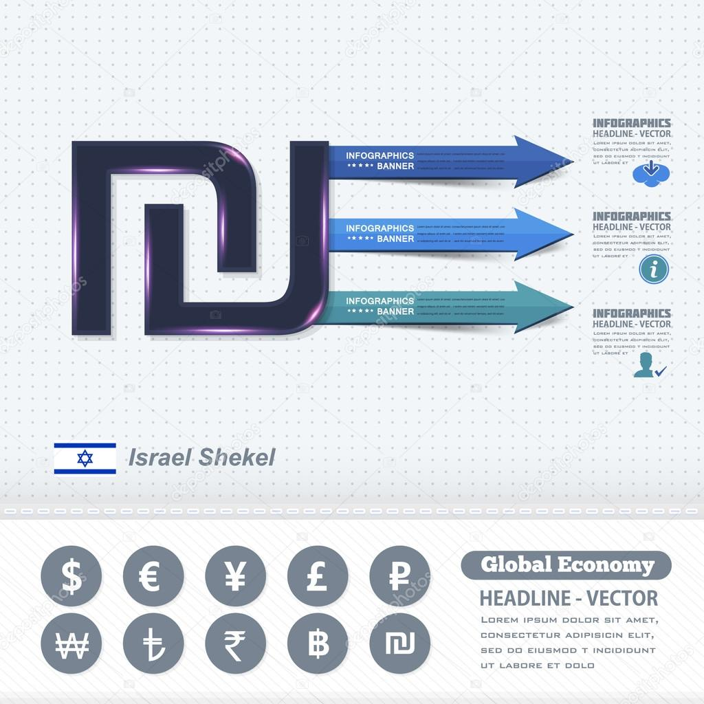 Israel Shekel Symbol Business Infographics Design Colorful Arrows