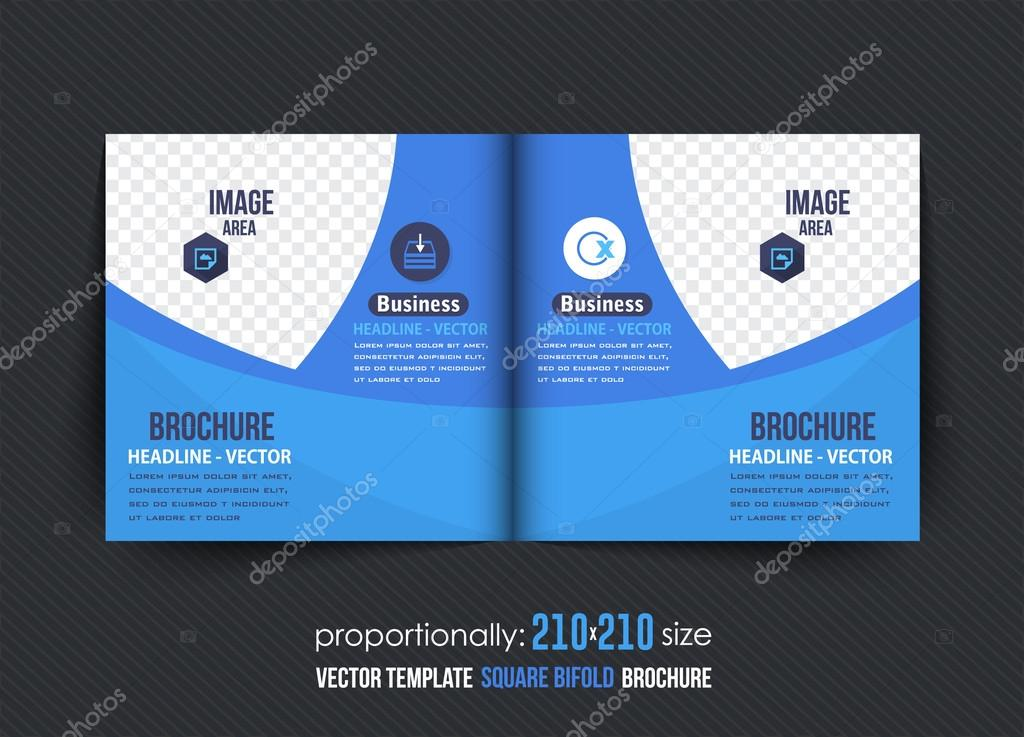Square Bi Fold Brochure Template Corporate Leaflet Cover Design