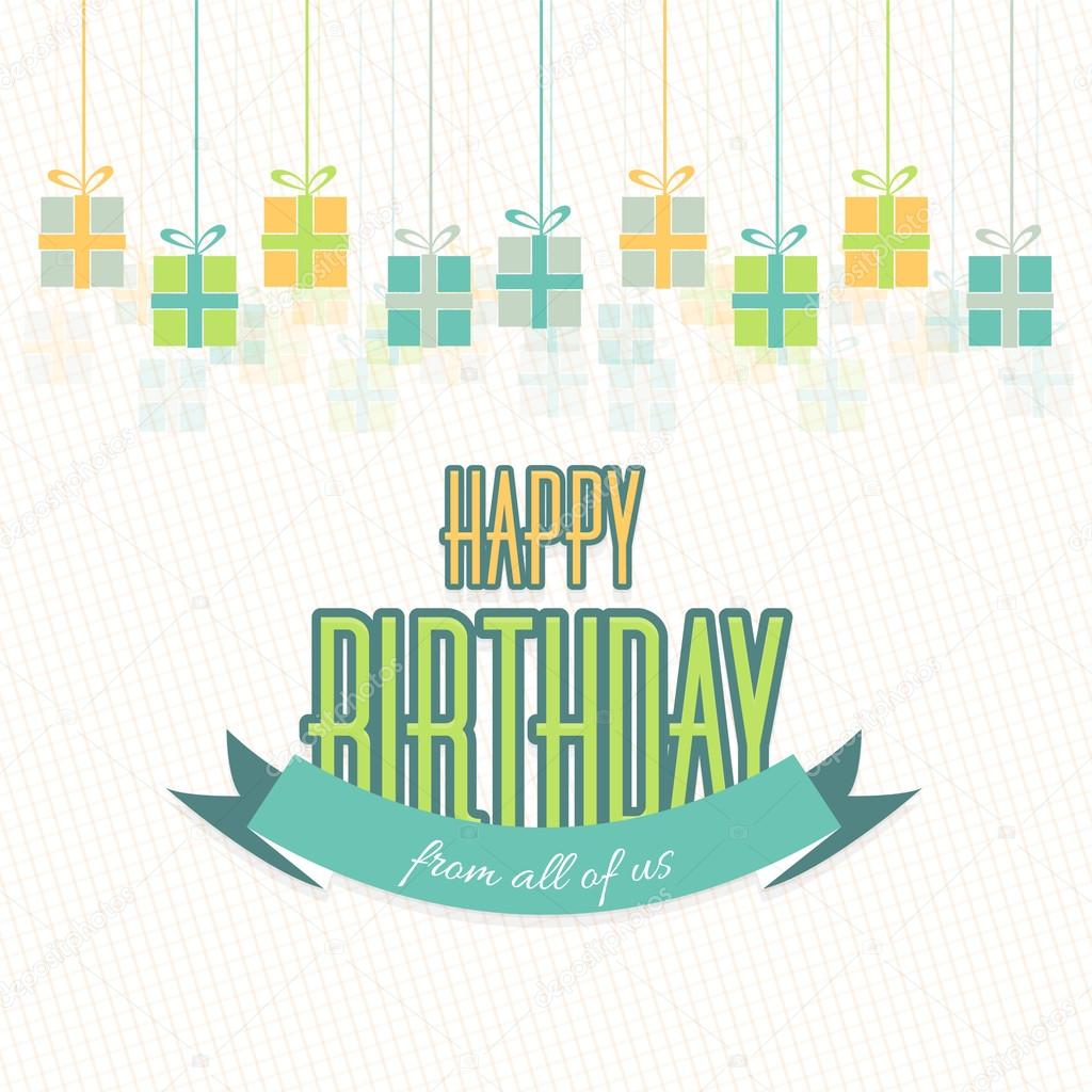 Stylish Text Happy Birthday From All of Us  Hanging Gift