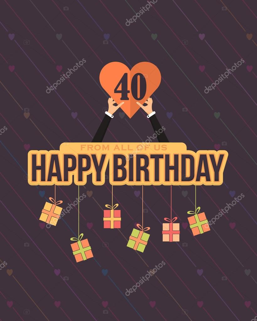B day poster designs - Vector Flat Style Happy Birthday Card Design Announcement And Celebration Message Poster Flyer Flat
