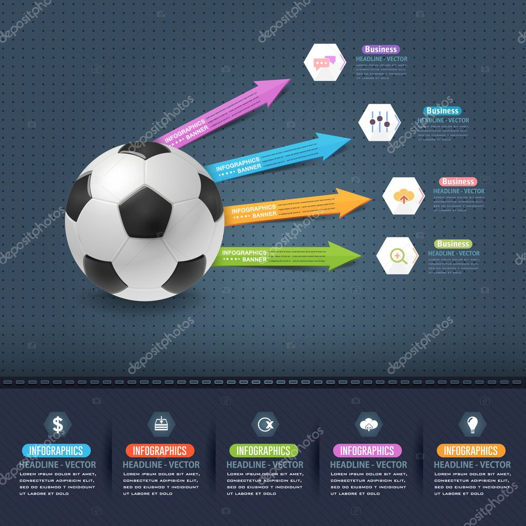football soccer ball infographics template vetor de stock