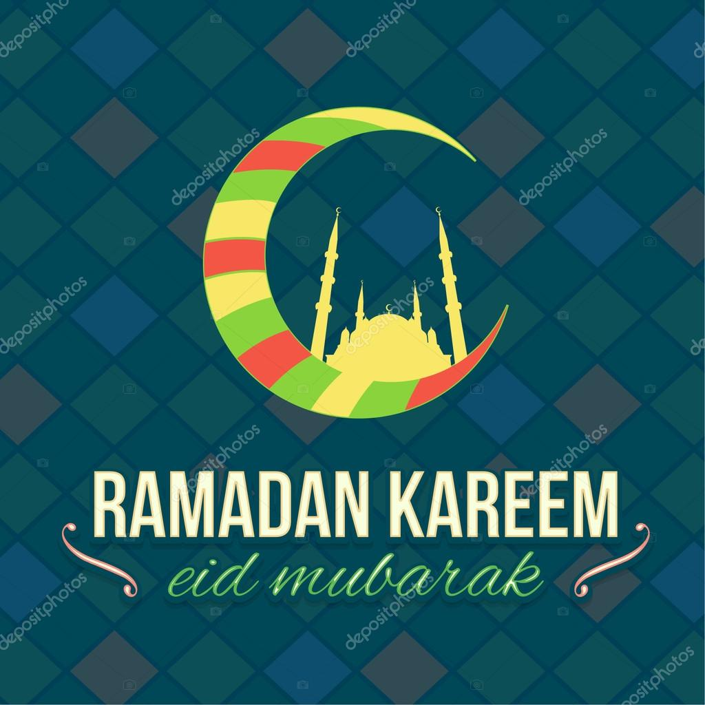 Multicolored crescent moon symbol ramadan greeting card design multicolored crescent moon symbol ramadan greeting card design flat mosaic background arabic biocorpaavc Gallery