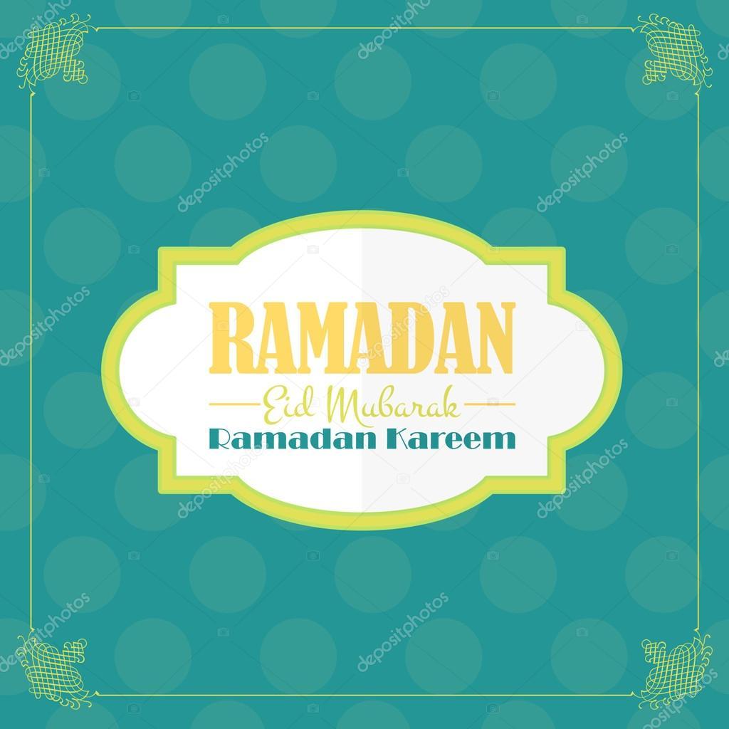 Ramadan greeting card design flat background arabic eid mubarak ramadan greeting card design flat background arabic eid mubarak be blessed at english vector by vectorweb m4hsunfo