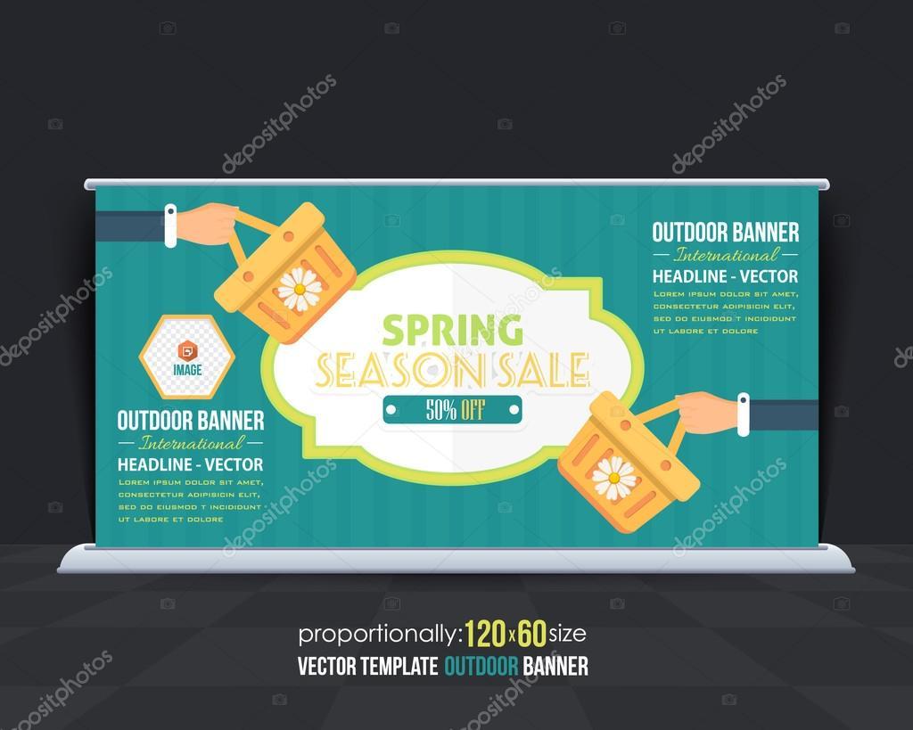 flat style spring season sale theme outdoor banner design
