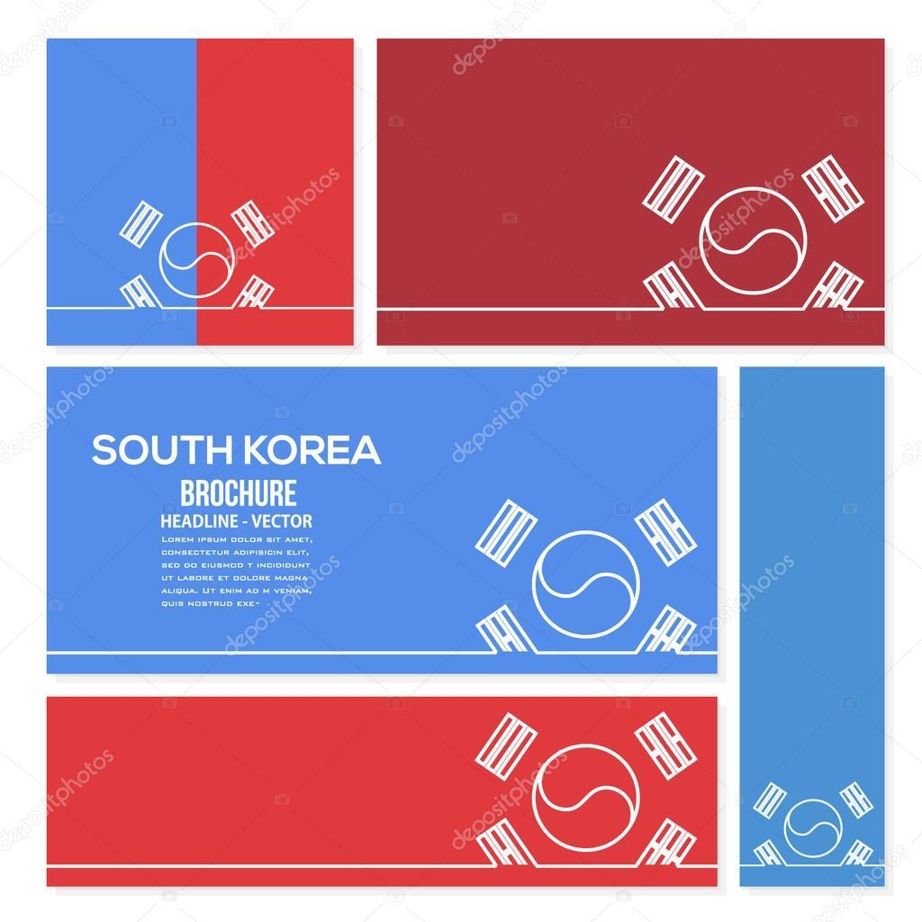 Darlegen Sie, Südkorea Flagge Karten und Gruß-Botschaft-Banner ...