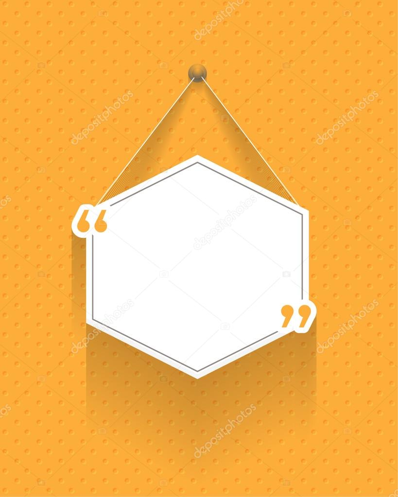 Hexagon Frame Quotes Banner Design Long Shadow Style Flat