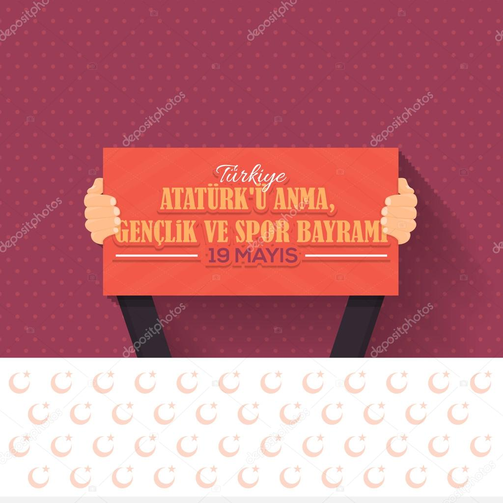 Turkey Celebration Card and Greeting Message Poster, Background, Badges - English
