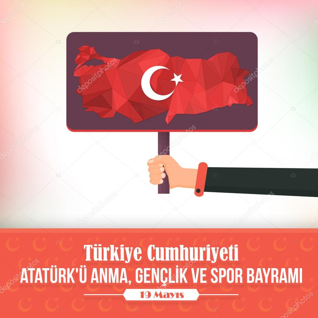 Low Poly Turkey Map and Republic of Turkey Celebration Card and Greeting Message Poster, Background, Badges - English