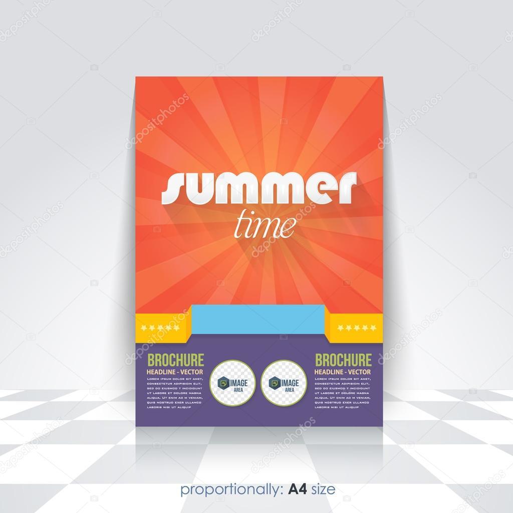 summer time flyer brochure design template ストックベクター