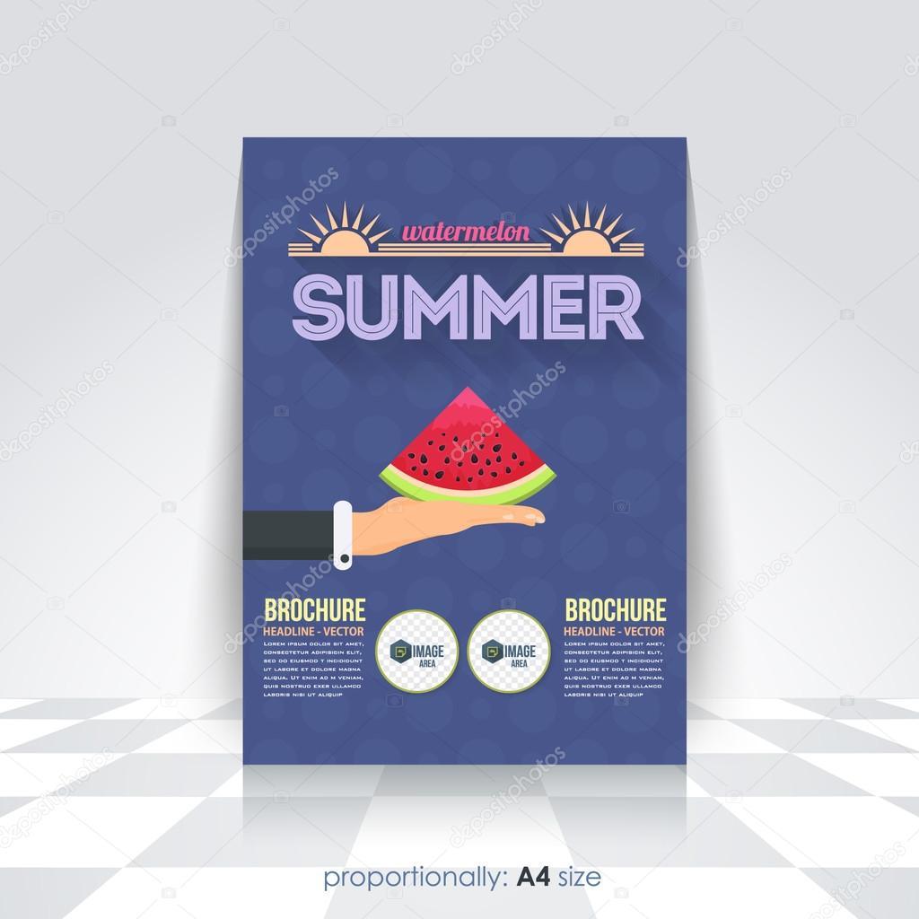 summer concept flyer brochure design template watermelon hold