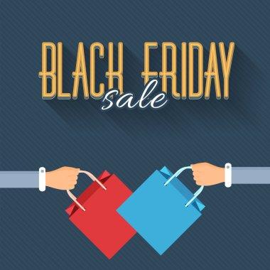 Shopping Bag Black Friday Flat Style