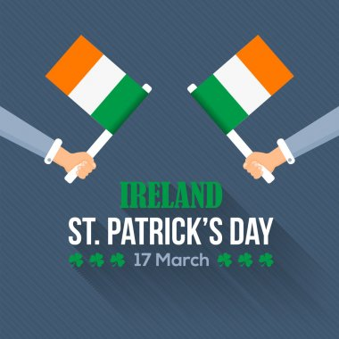 Flat Syle Happy Saint Patricks Day, Ireland National Day Hand Hold Flag