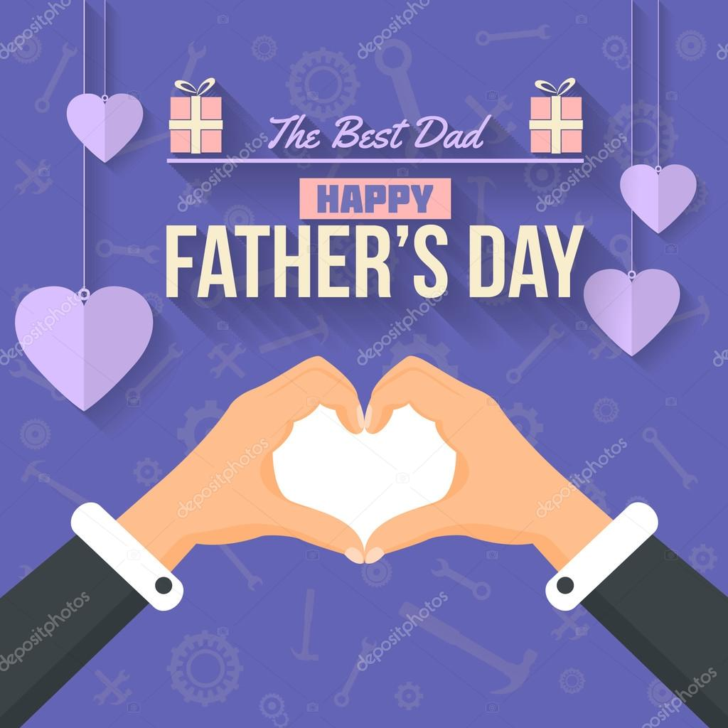 Vector Flat Hands Forming Love Symbol For Happy Fathers Day Design