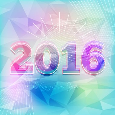2016 Happy New Year, Low Poly Style Background, Vector Greeting Card