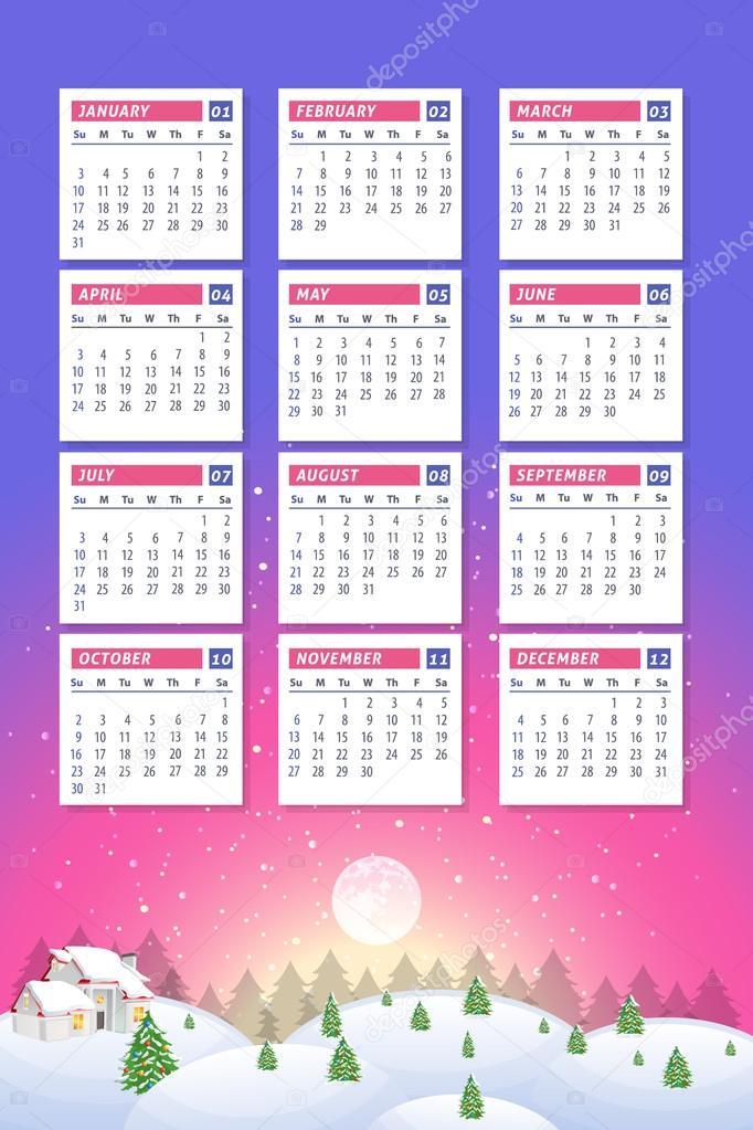 Christmas Landscape 2016 Full Calendar Template Promotion Poster