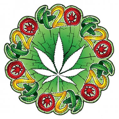 marijuana cannabis leaf symbol design stamps vector illustration