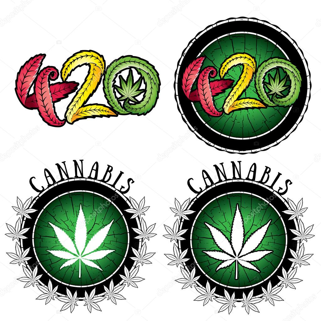 marijuana cannabis leaf symbol design stamps vector illustration