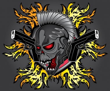 punk zombie ghost skull glock pistols fire flames background