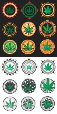 Marijuana cannabis green leaf symbol stamps vector illustration